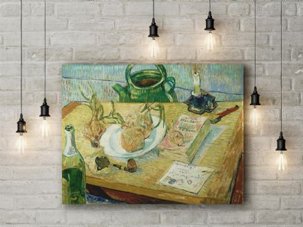 Vincent Van Gogh: Drawing Board, Pipe & Onions. Fine Art Canvas.